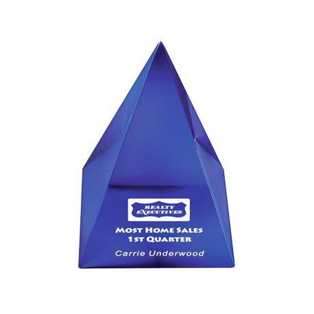 AUS 033 - Acrylic Pyramid blue (89x89x108mm) - plaketa pyramída