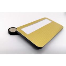 Magnetická menovka s priesvitným krytom a sublimačnou plochou - zlatá