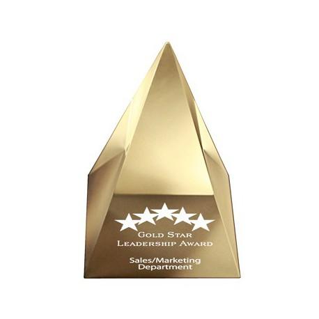 AUS 031 - Acrylic Pyramid Gold (89x89x108mm) - plaketa pyramída
